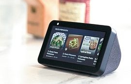 amazon echo show on a kitchen counter