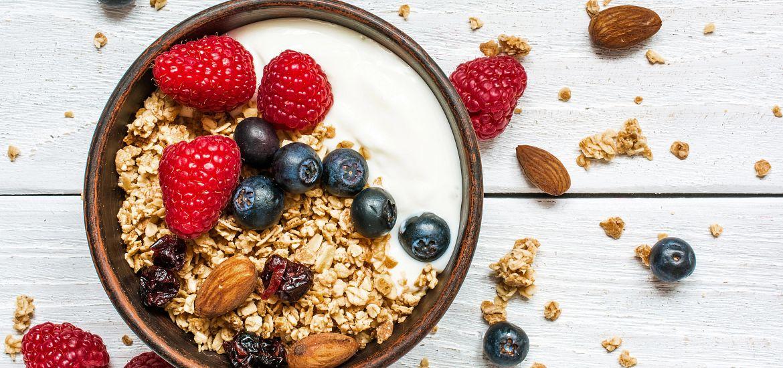 Bowl Oat Granola Yogurt Fresh Berries Getty Images