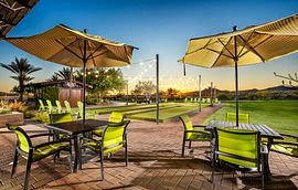 Bocce Courts and patio tables at the Mita Club in Trilogy at Vistancia in Arizona