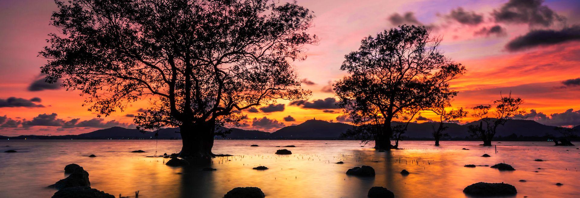 lake at dusk in north carolina