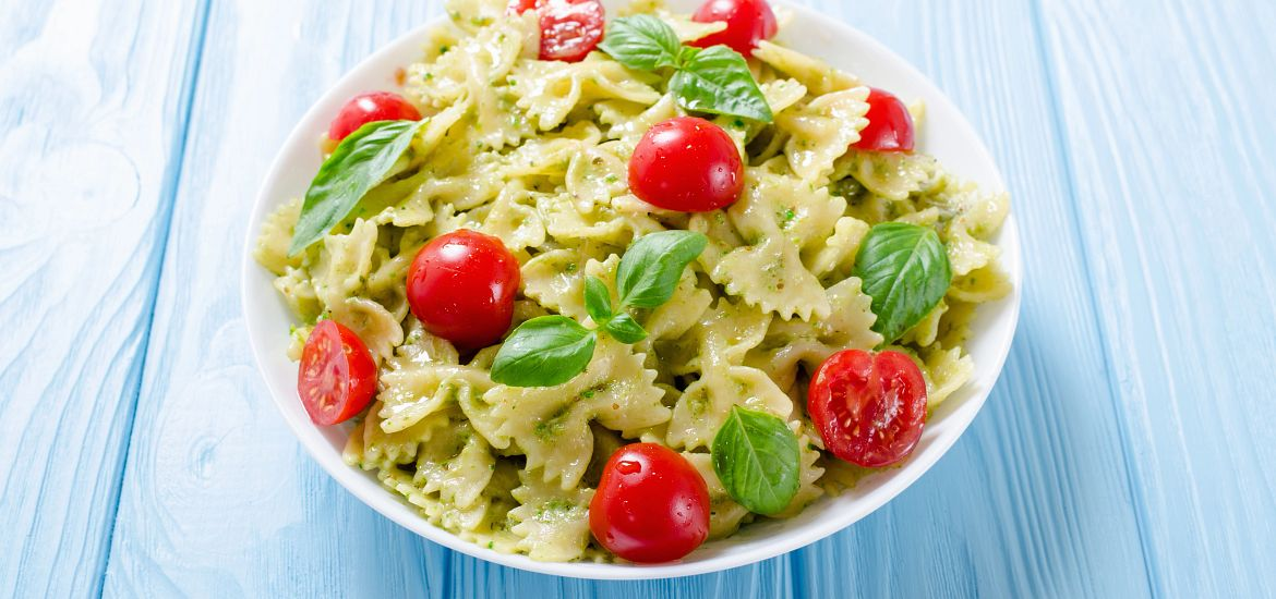 Bow Tie Noodles Tomatoes Pesto Getty Images