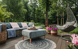 Outdoor Patio Decor Couch Ottoman Swing Flowers Getty Images
