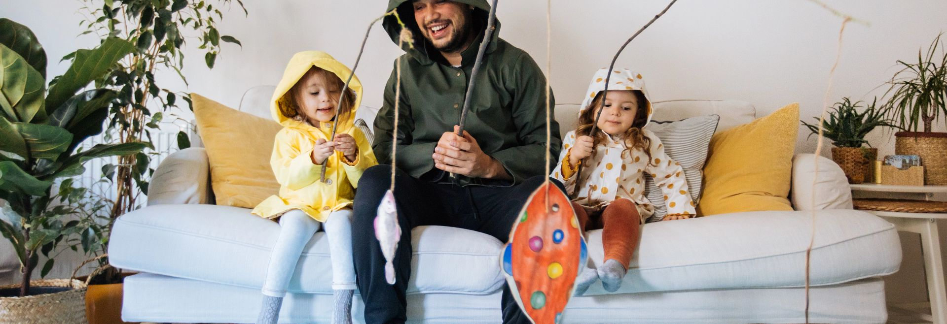 Kids Dad Fishing Indoors Getty Images