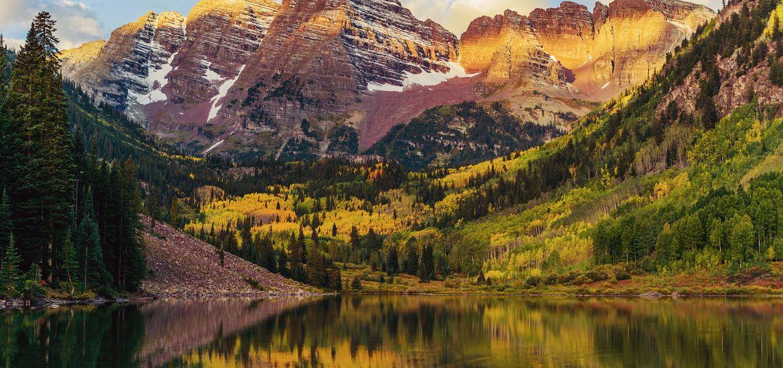 Maroon Bells Lake Sunrise Colorado Mountains