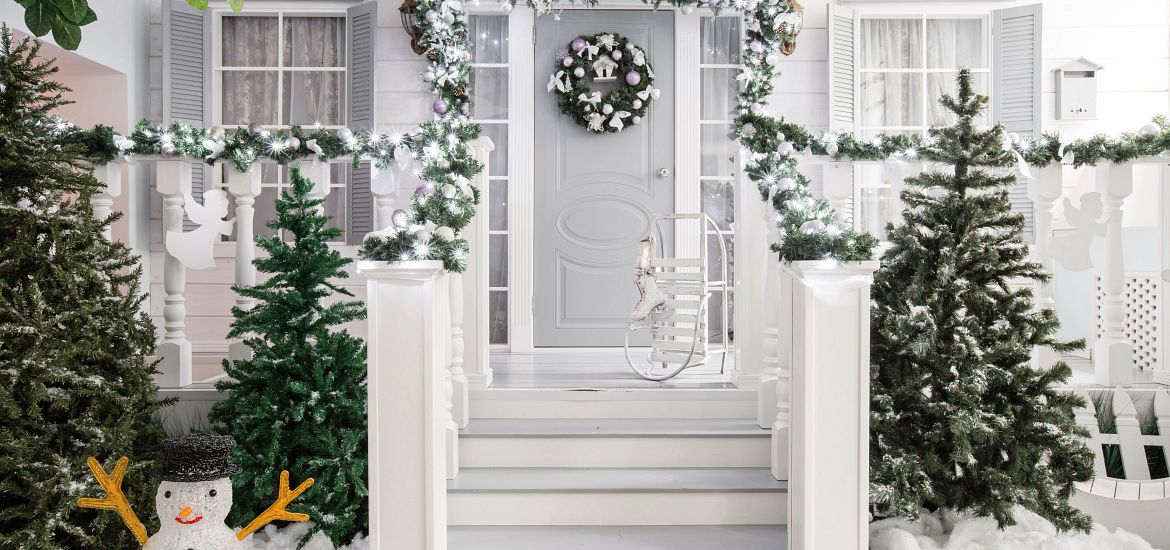 Holiday Christmas Monochromatic Front Door Decorations Getty Images