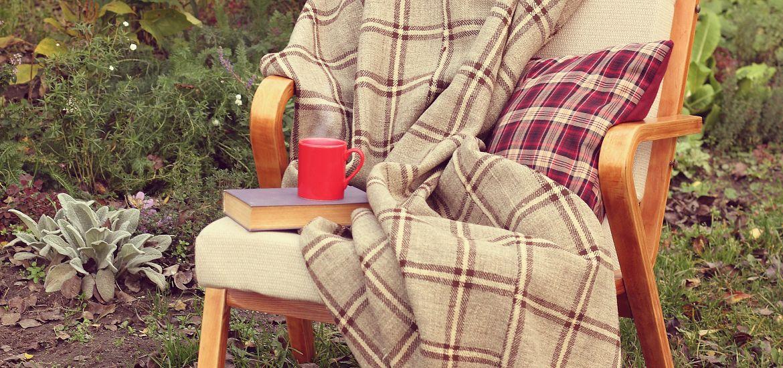 Plaid Blanket Pillow Outdoor Chair Decor