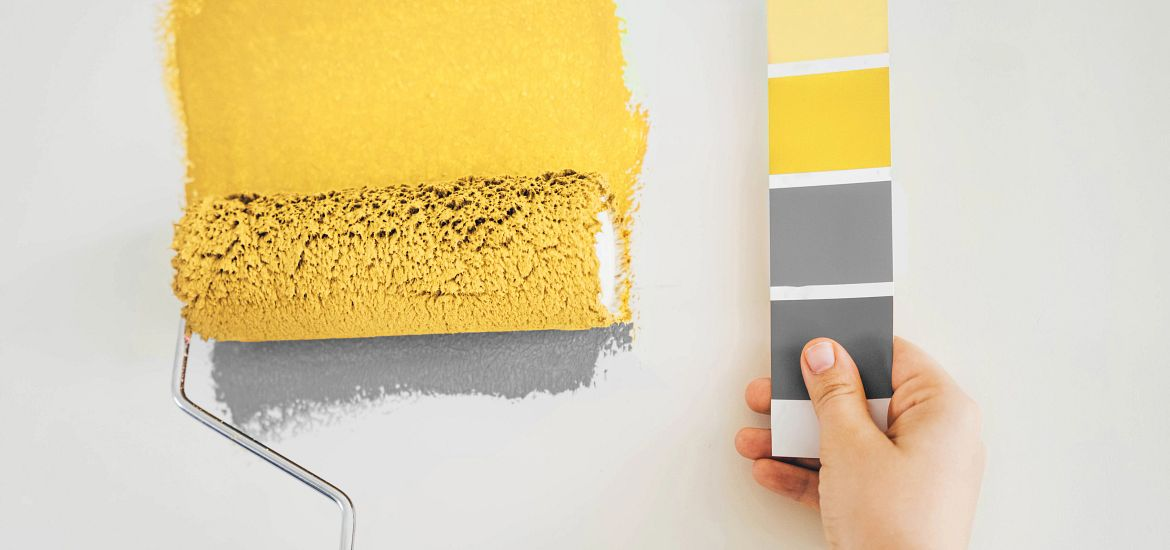 Pantone Yellow Gray Paint Colors Getty Images
