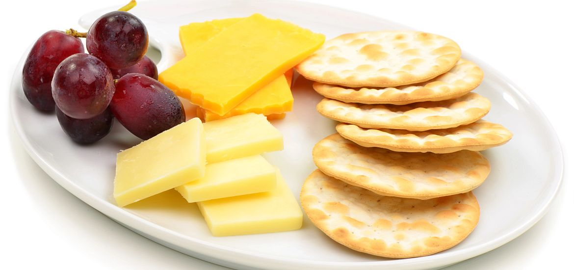 Cheese Crackers Grapes Getty Images