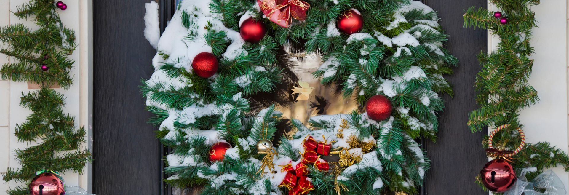 Holiday Christmas Wreath Garland Bells Front Door Decorations Getty Images