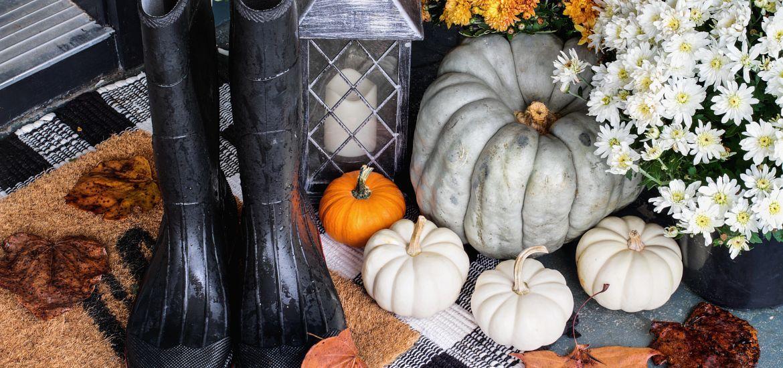 Autumn Rain Boots Front Porch Flowers Pumpkins
