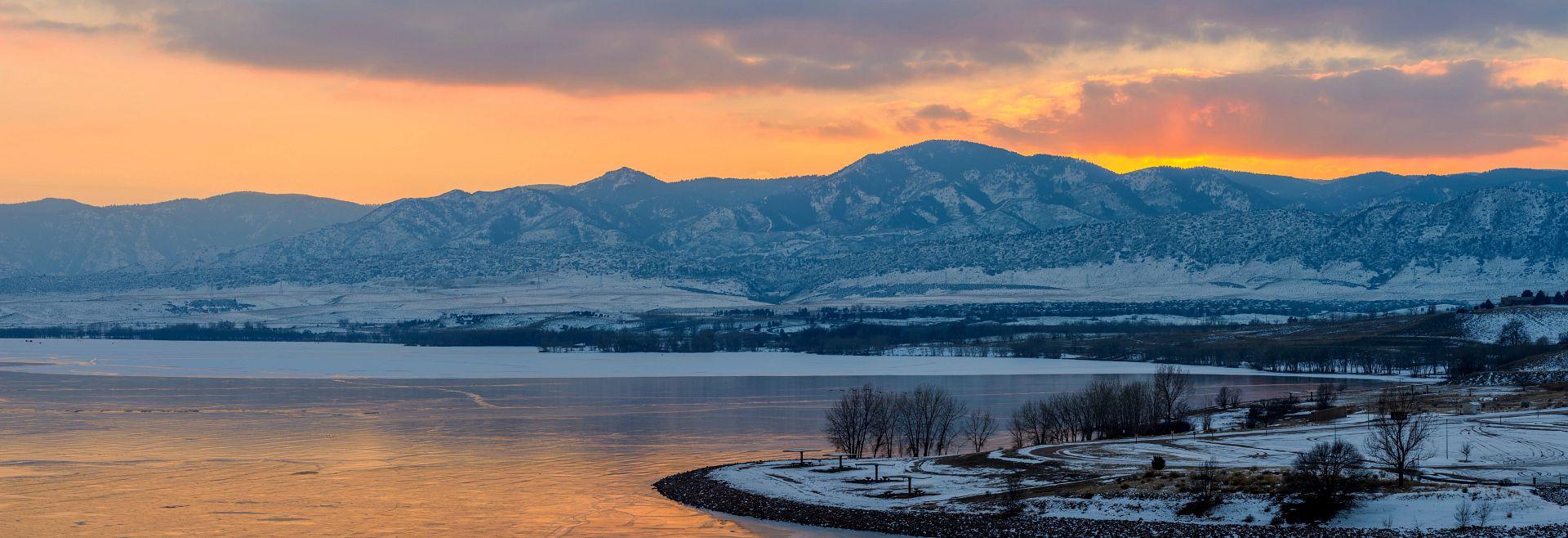 Chatfield State Park Lake Snow Winter Mountains