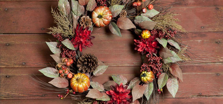 Autumn Wreath Wood Door
