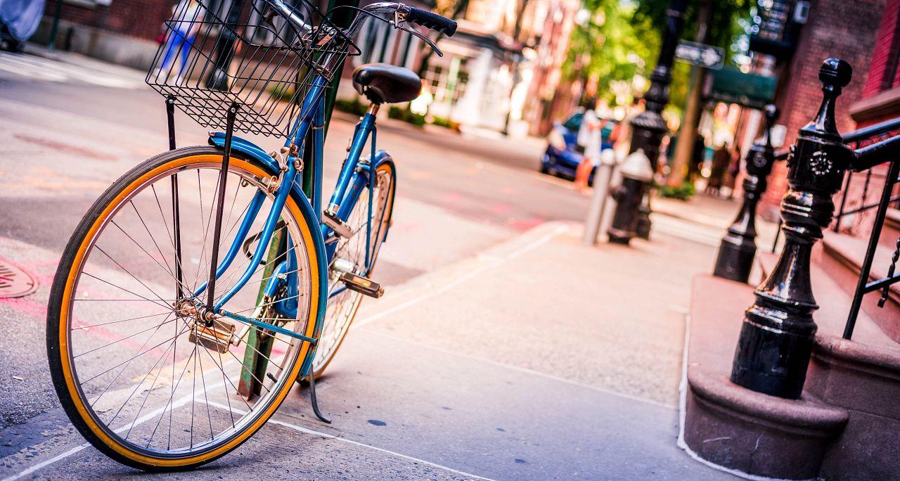 Lyric Blue Bicycle Outside