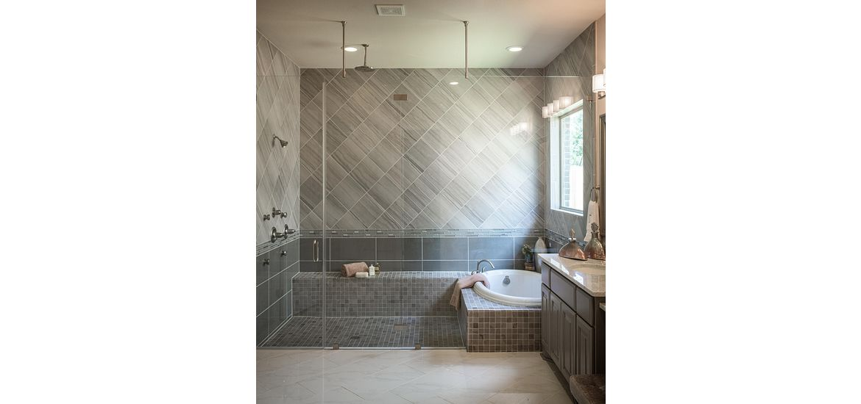 Master bathroom with overhead shower heads