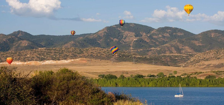 Chatfield State Park Lake Mountains Sail Boat Hot Air Balloons