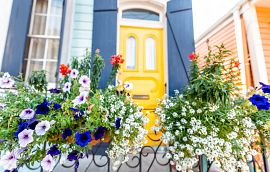 Flower Pots Front Porch Decor Yellow Door Getty Images