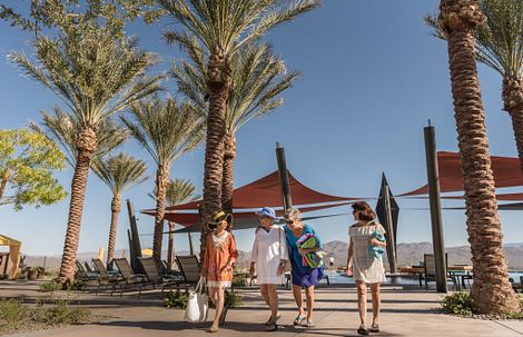 Ladies by the outdoor resort pool