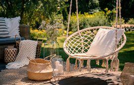 Beige String Swing Wicker Baskets Wooden Decks Garden Getty Image